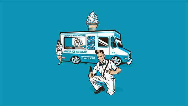 05.ワゴンカーのソフトクリーム屋さんのポップなイラスト壁紙画像