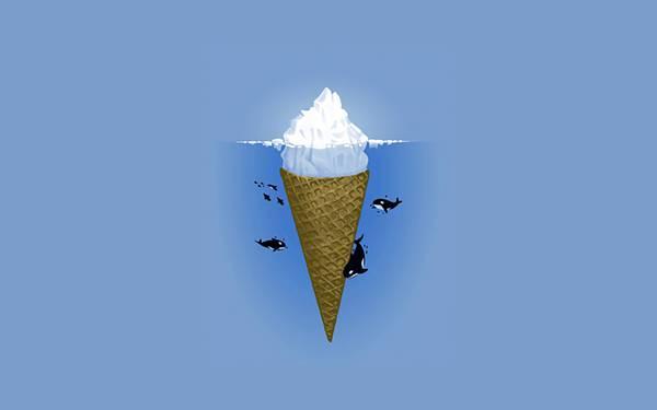 09.氷山のソフトクリームとシャチたちの可愛いイラスト壁紙画像