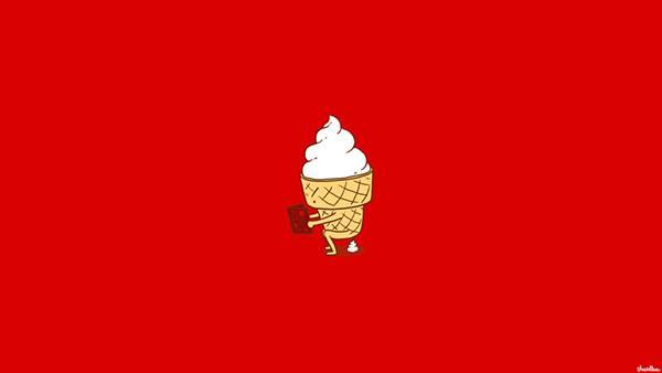 12.トイレ中なソフトクリームのキャラクターのイラスト壁紙画像