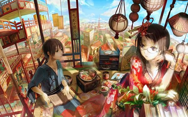 02.東京タワーの見える風景と着物姿の男女の綺麗なイラスト壁紙