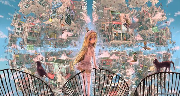 03.空中に浮かぶ日本の都市と少女のファンタジーなイラスト壁紙画像