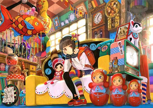 04.鮮やかな色彩の和風なお店の中の女の子を描いたイラスト壁紙画像