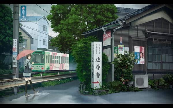 06.法浄寺に向かう道と傘をさした少女の和風イラスト壁紙画像