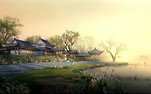 07.日本庭園の風景をリアルに描いた美しい和風イラスト壁紙画像
