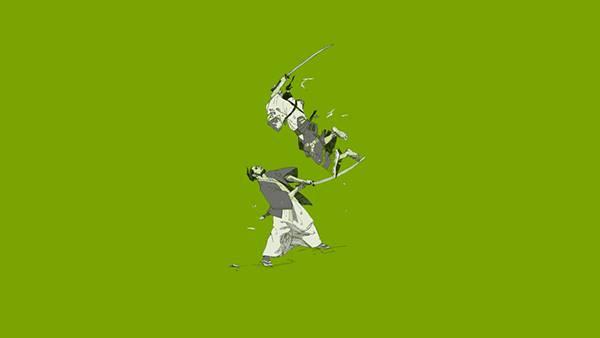 08.戦う侍をシンプルに描いたおしゃれな和風イラスト壁紙画像