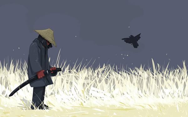 09.侍とカラスを描いたシンプルな和風イラスト壁紙画像