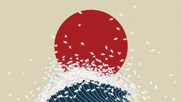 11.日の丸と波と折り鶴のおしゃれな和風イラスト壁紙画像