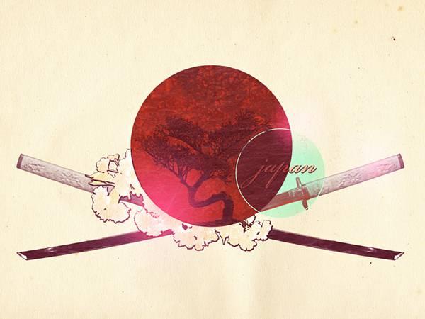 12.日の丸と刀でデザインした和風イラスト壁紙画像