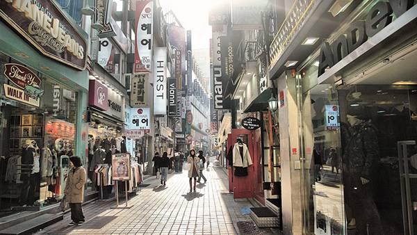 07.韓国の商店街を撮影したおしゃれな写真壁紙画像