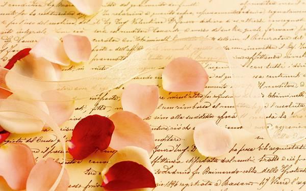 05.手紙と花びらとリボンのお洒落で可愛らしい写真壁紙画像