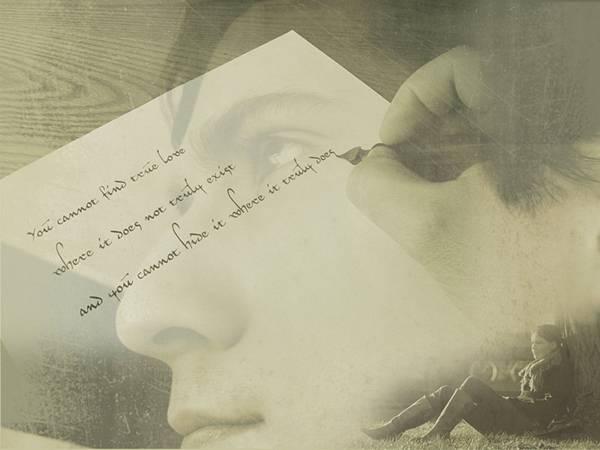 11.手紙を書く手元と女性の横顔を合成したレトロな写真壁紙画像