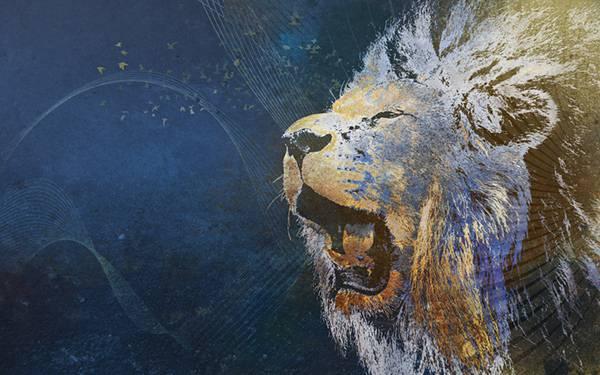 01.ライオンの顔をデザインしたグランジテクスチャー系イラスト壁紙画像