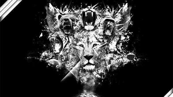 04.様々な動物の吠える顔をデザインしたモノクロイラスト壁紙画像