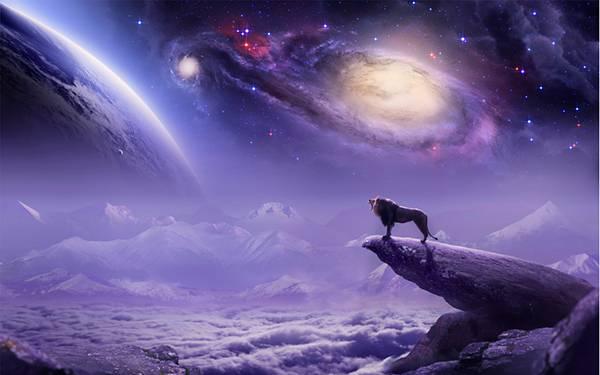 05.切り立った崖の上のライオンと星空の綺麗なイラスト壁紙画像