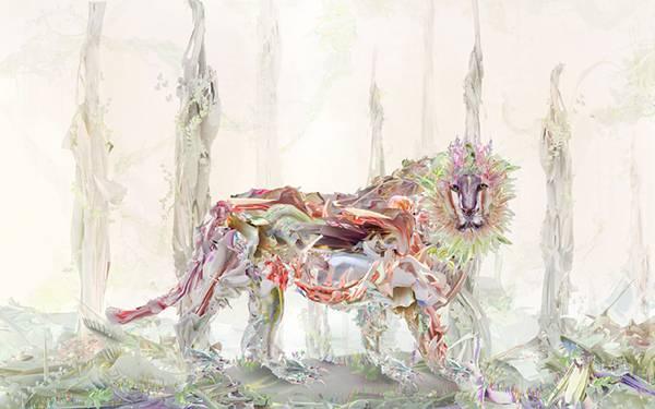 06.森の中のライオンをカラフルな彩色で表現したオシャレな壁紙画像