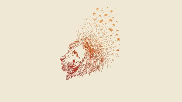 10.ライオンの鬣とたんぽぽの綿毛を組み合わせたオシャレなイラスト壁紙