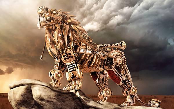 11.無骨なメカで出来たライオンのかっこいいイラスト壁紙画像