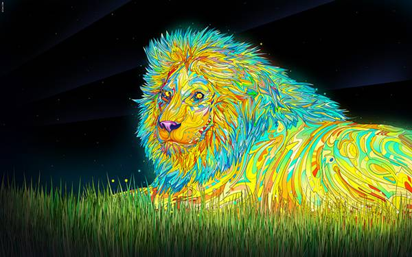 12.サイケデリックな色彩のライオンのクールなイラスト壁紙画像