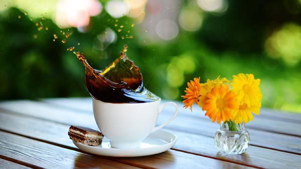 06.水飛沫をあげて溢れるコーヒーと花の綺麗な写真壁紙画像