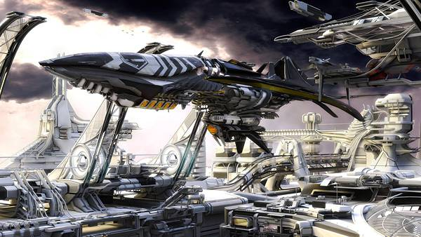 06.宇宙船と未来の街を3DCGでデザインしたかっこいい壁紙画像