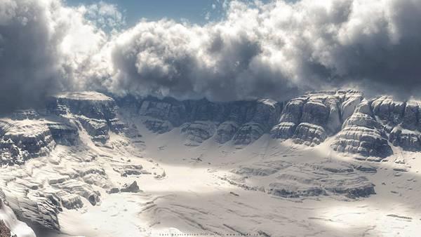 08.3DCGでレンダリングされたリアルな崖と雲の風景の壁紙画像