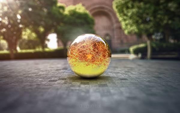 11.地面に落ちた光の玉を3DレンダリングしたCG壁紙画像