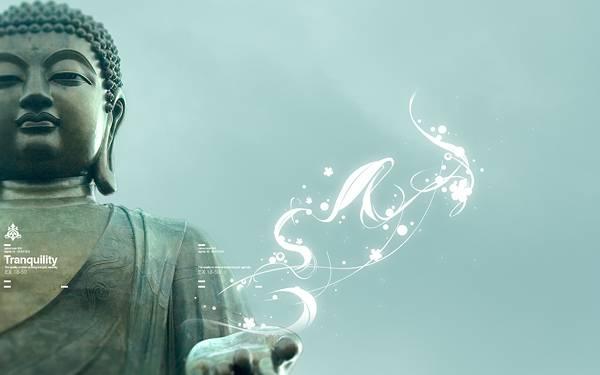 02.仏像の掌から広がるフローラル柄の光をデザインした写真壁紙画像