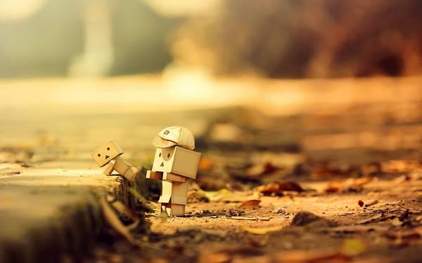 04.落ち葉とダンボーの親子のおしゃれな写真壁紙画像