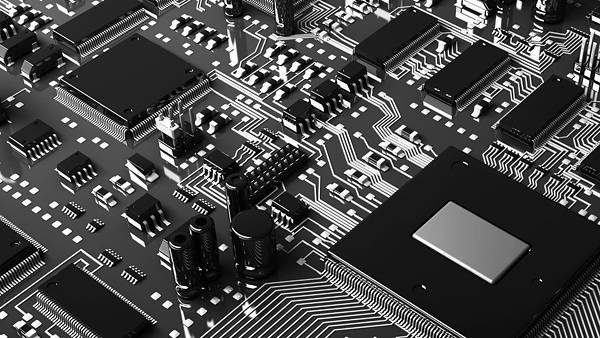 05.コンデンサーやチップの並ぶ電子回路を撮影した写真壁紙画像