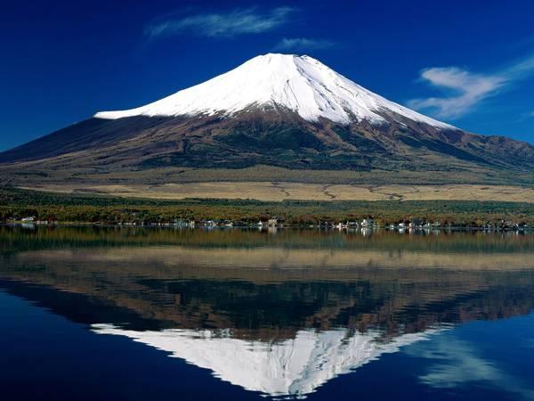 09.鮮やかな青空に映える富士山とそれを移す湖の写真壁紙画像