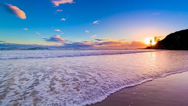 01.夕日の沈む渚の風景を撮影した美しい写真壁紙画像