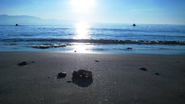 05.海面が太陽を照り返す渚の風景を撮影した美しい写真壁紙画像
