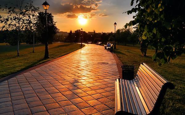 05.夕日の沈む公園を撮影した綺麗な写真壁紙画像