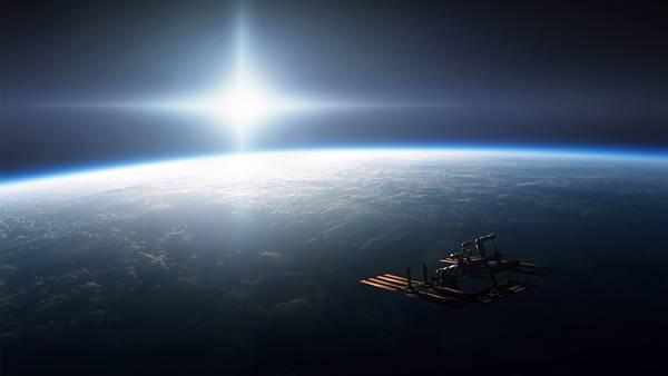 01.地球の夜明けと人工衛星をデザインした美しいイラスト壁紙画像