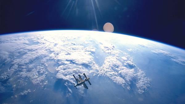 02.地球と人工衛星を見下ろした綺麗な写真壁紙画像