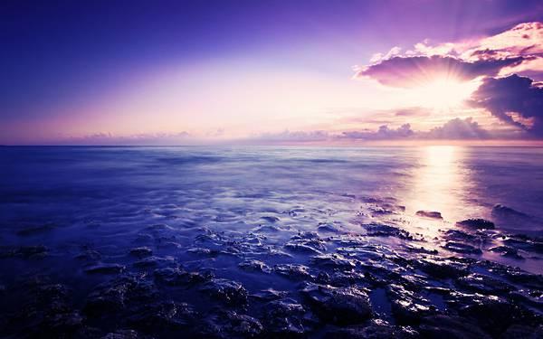 03.美しい紫に染まる岩石海岸の綺麗な写真壁紙画像