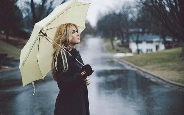 02.雨の日に傘をさして佇むコートの女性の写真壁紙画像