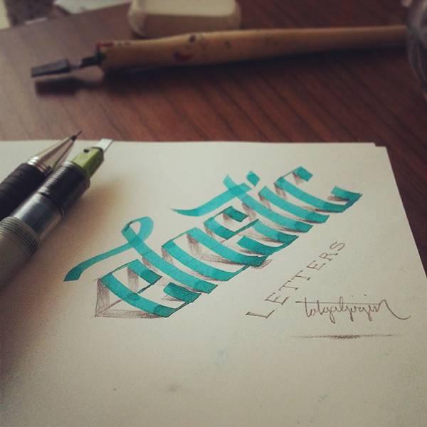 ペンで手描きされた3Dカリグラフィー - 06