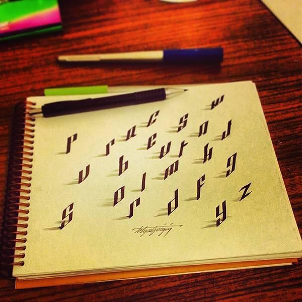 ペンで手描きされた3Dカリグラフィー - 07