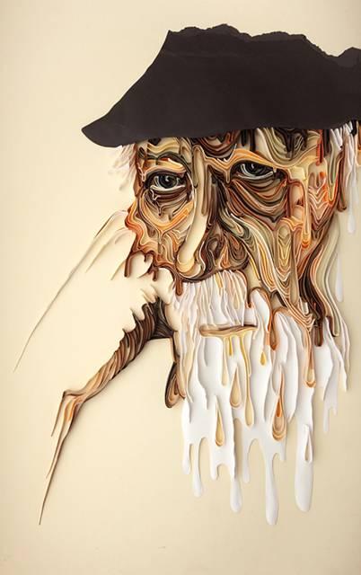テープ状にカットした紙で作る緻密なペーパーアート作品 - 06