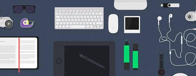 無料素材:デスク周りの小物やガジェットをデザインしたベクターイラストモックアップ