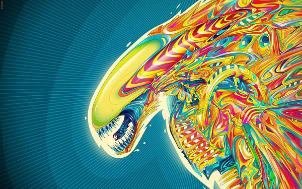 09.サイケデリックな色使いでデザインしたエイリアンのイラスト壁紙画像