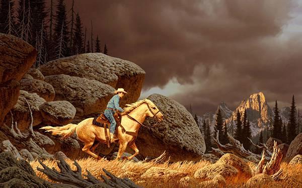 02.荒野を馬に乗って走り抜けるカウボーイのカッコイイ写真壁紙画像