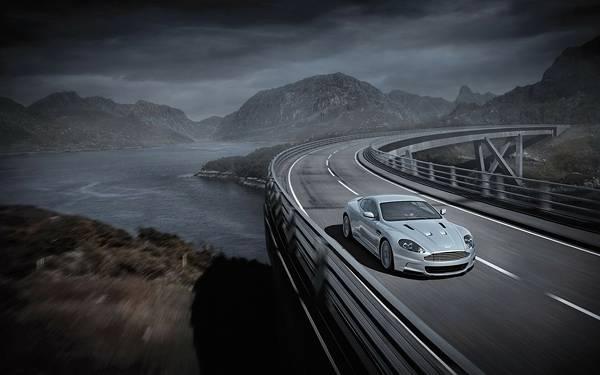 01.川沿いの高速道路を走る車のカッコイイ写真壁紙画像