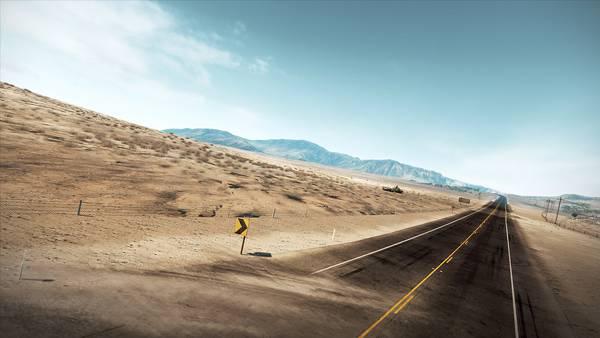 08.砂漠の中をまっすぐに進む高速道路を撮影した写真壁紙画像