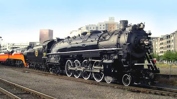 02.線路の上の重厚な蒸気機関車のかっこいい写真壁紙画像