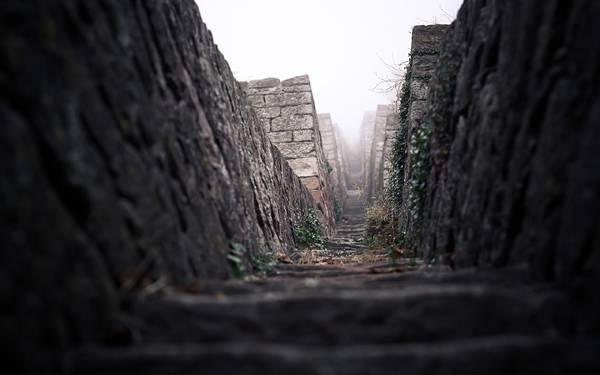 07.霧の中に続いていく石段を撮影した写真壁紙画像