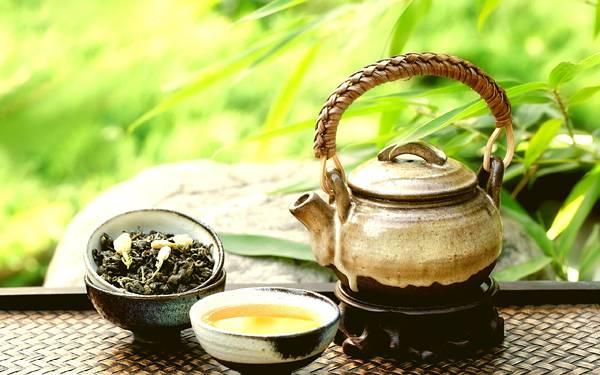 10.茶葉や茶器のセットを緑の背景で撮影した綺麗な写真壁紙画像