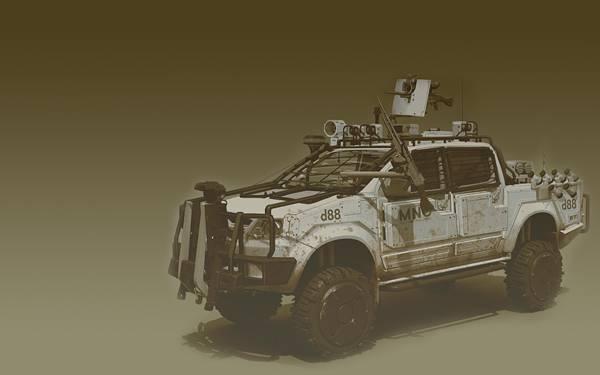07.武装したトラックをレトロな色調で撮影したカッコイイ写真壁紙画像