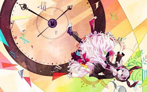 10.時計と結月ゆかりのファンタジーなボカロイラスト壁紙画像